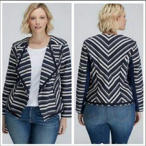 Lane Bryant Navy/Cream Stripe Open Drape Jacket~22